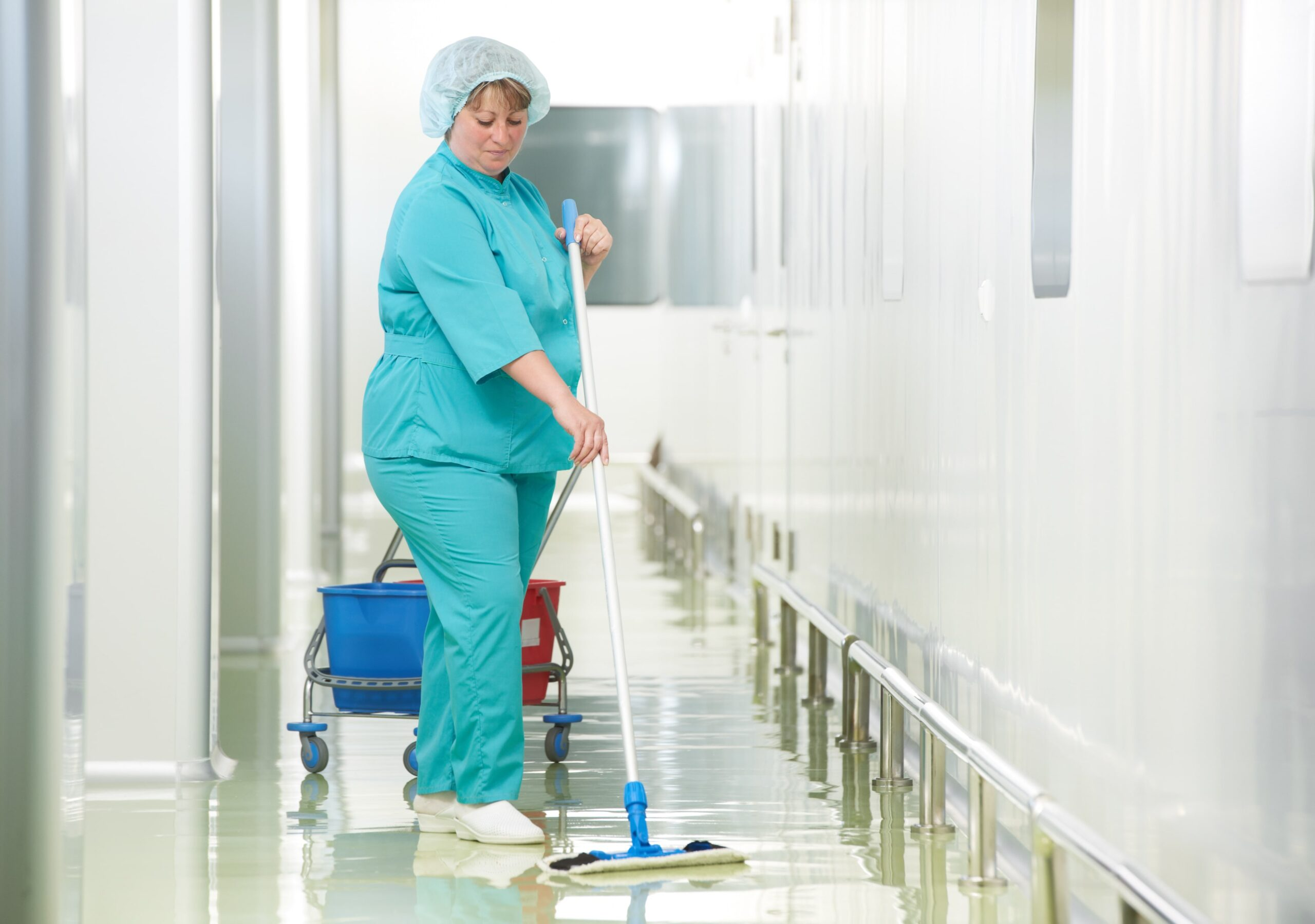 a lady cleaning floor